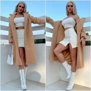 teddy faux fur button  trench coat jacket camel